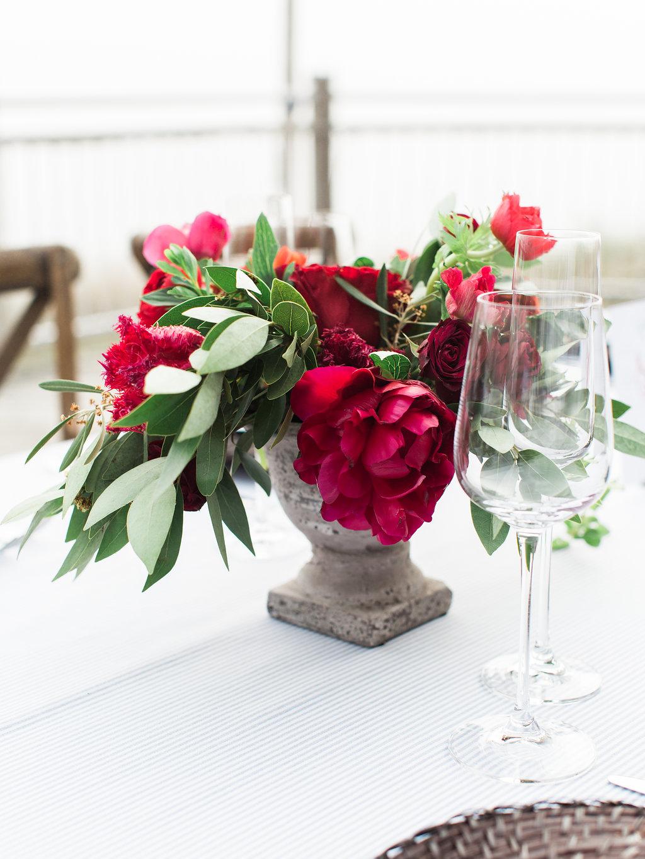 Red wedding floral arrangement