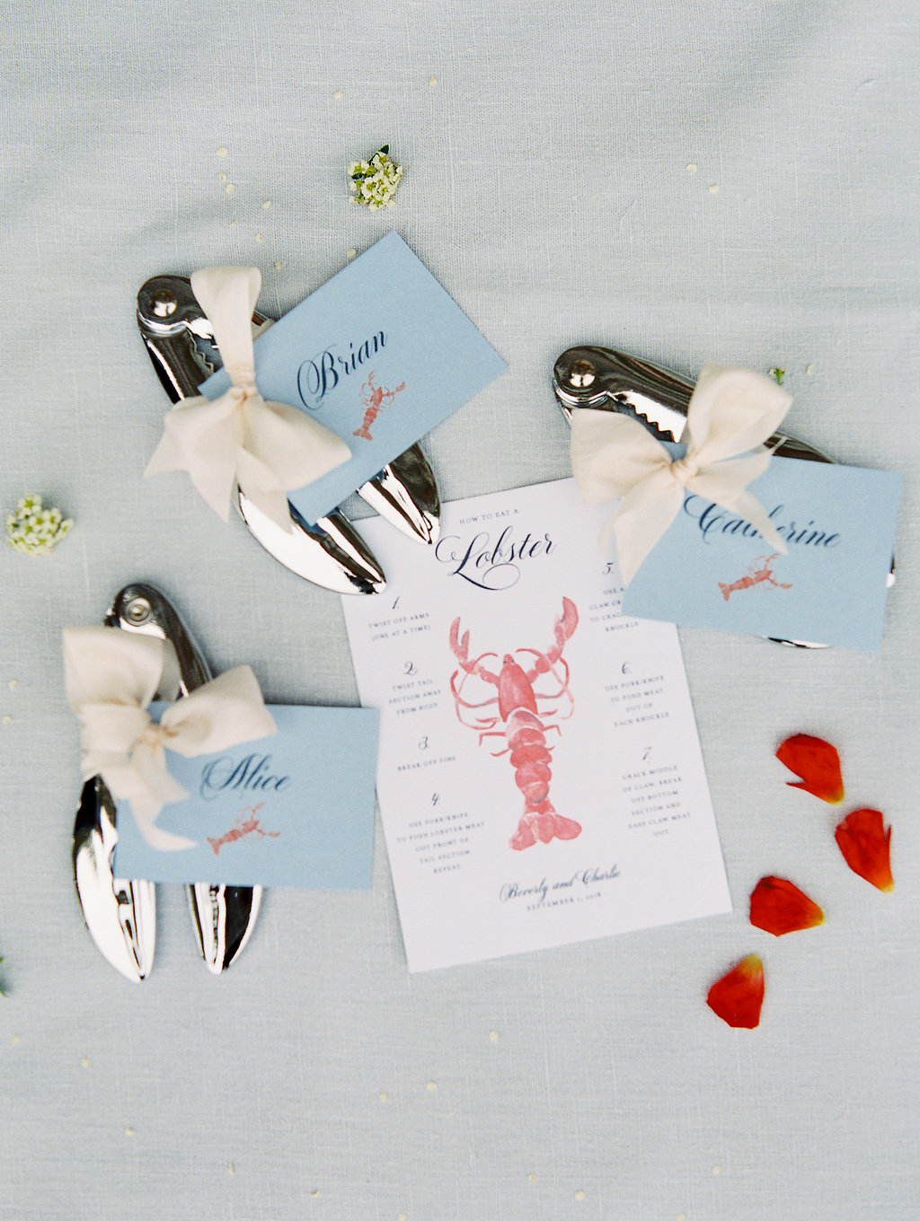 Lobster cracker card and tools