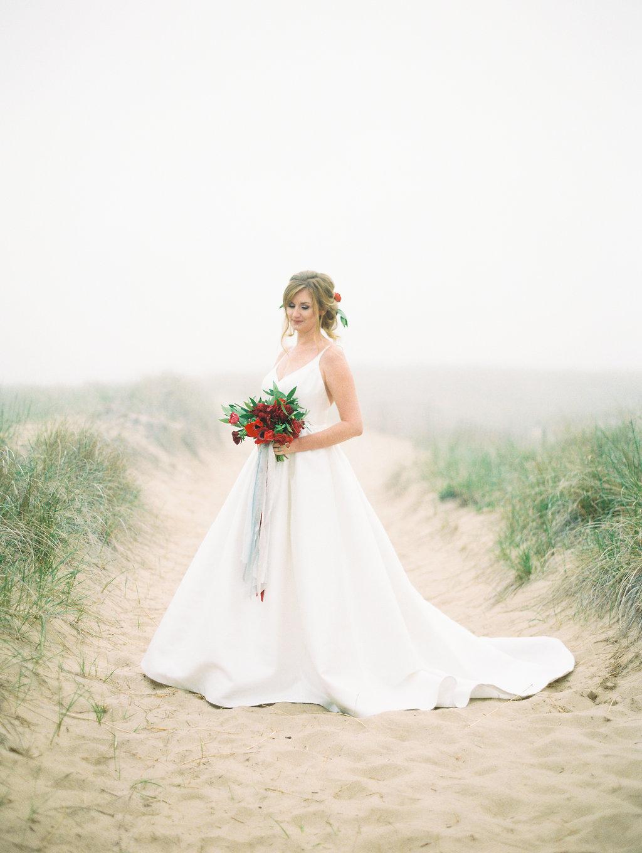 Bride smiling during her Lake Michigan wedding