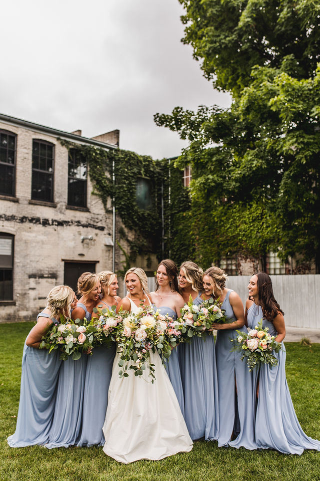 Bride and bridesmaids with bouquets at Southwest Michigan wedding venue