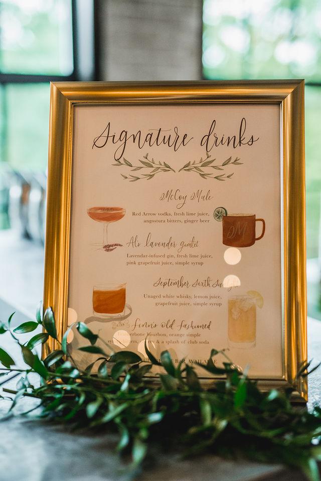 Signature drinks menu at Southwest Michigan wedding