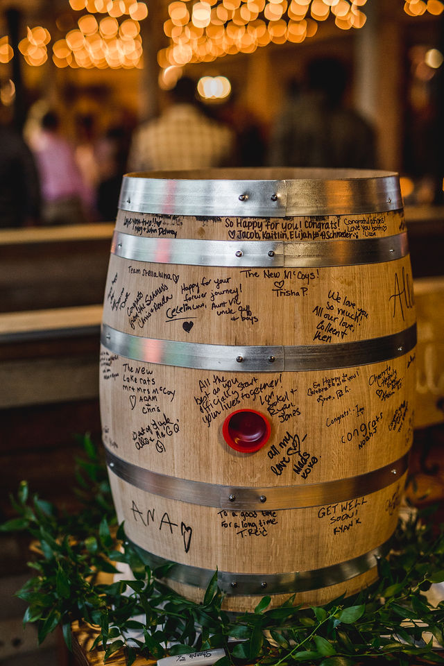 Journeyman Distillery signed barrel at Southwest Michigan wedding venue