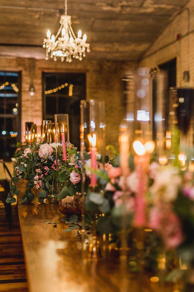 Head table decor with bouquets in vases