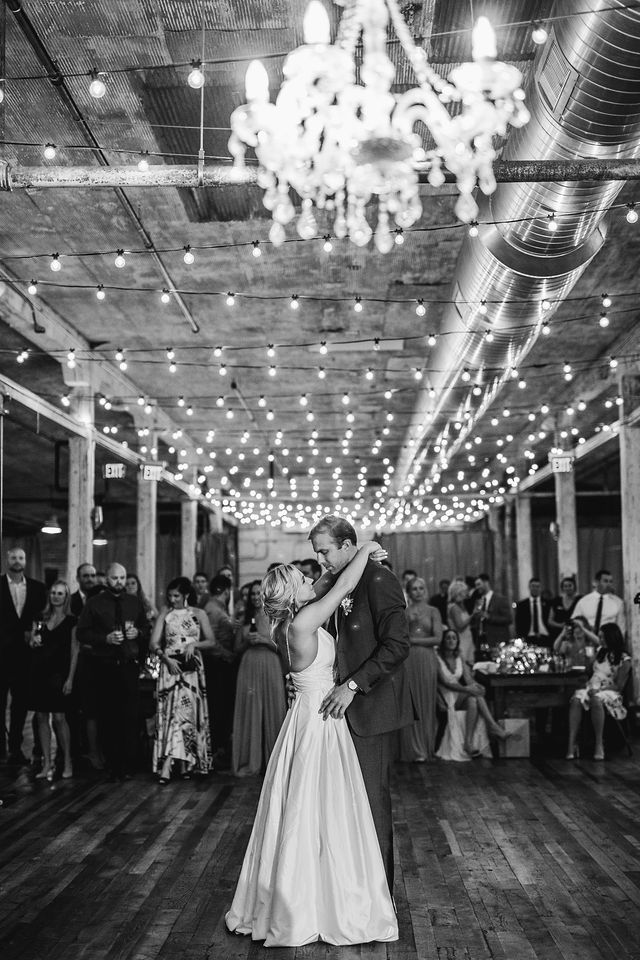 Bride and Grooms first dance under lights at Southwest Michigan wedding venue