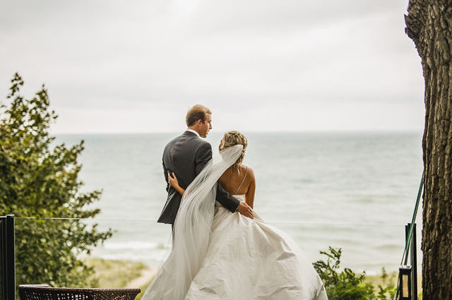Couple enjoying the view from their Southwest Michigan wedding