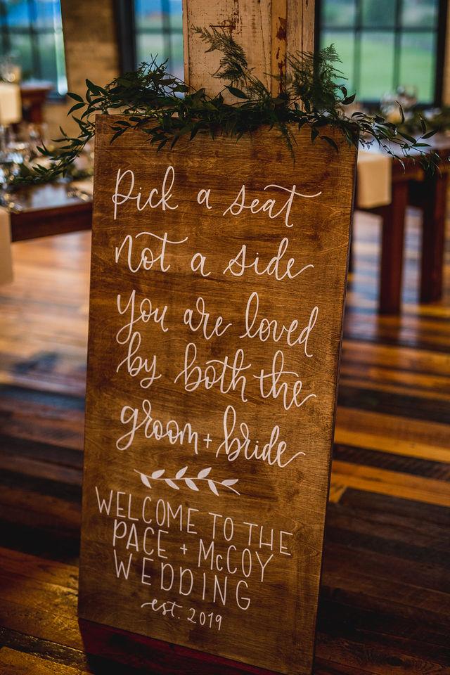 Pick a seat sign at Southwest Michigan Wedding venue