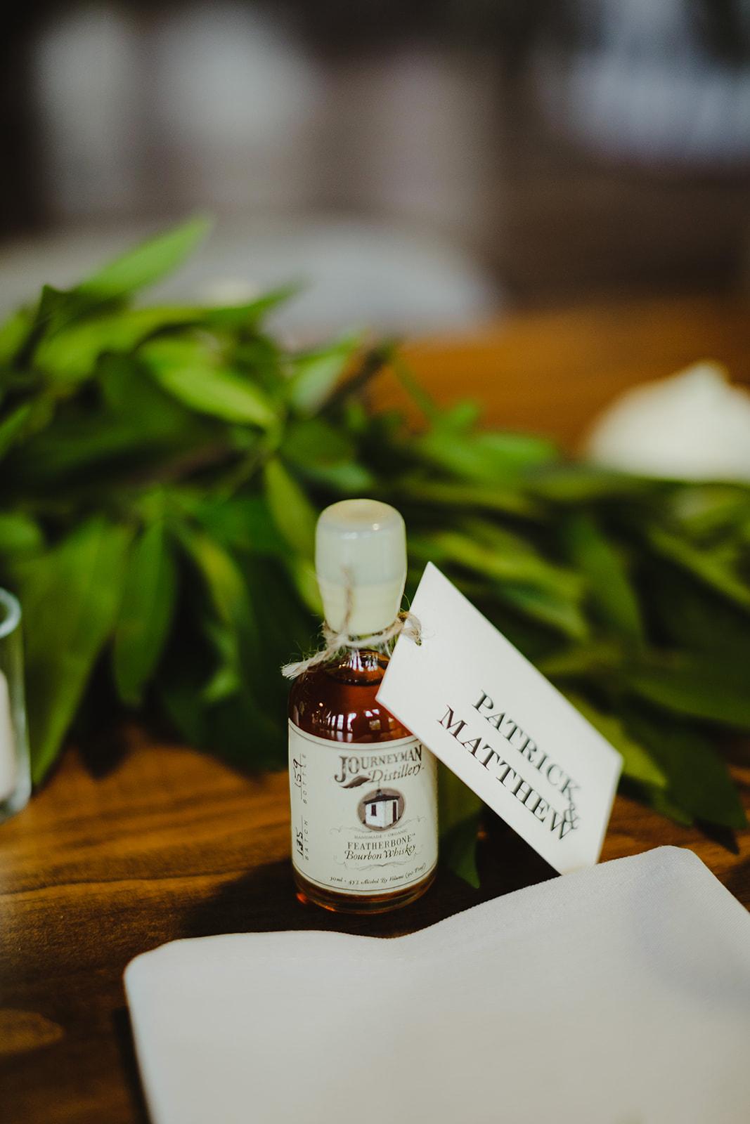 Alcohol shooter from a Journeyman Distillery wedding