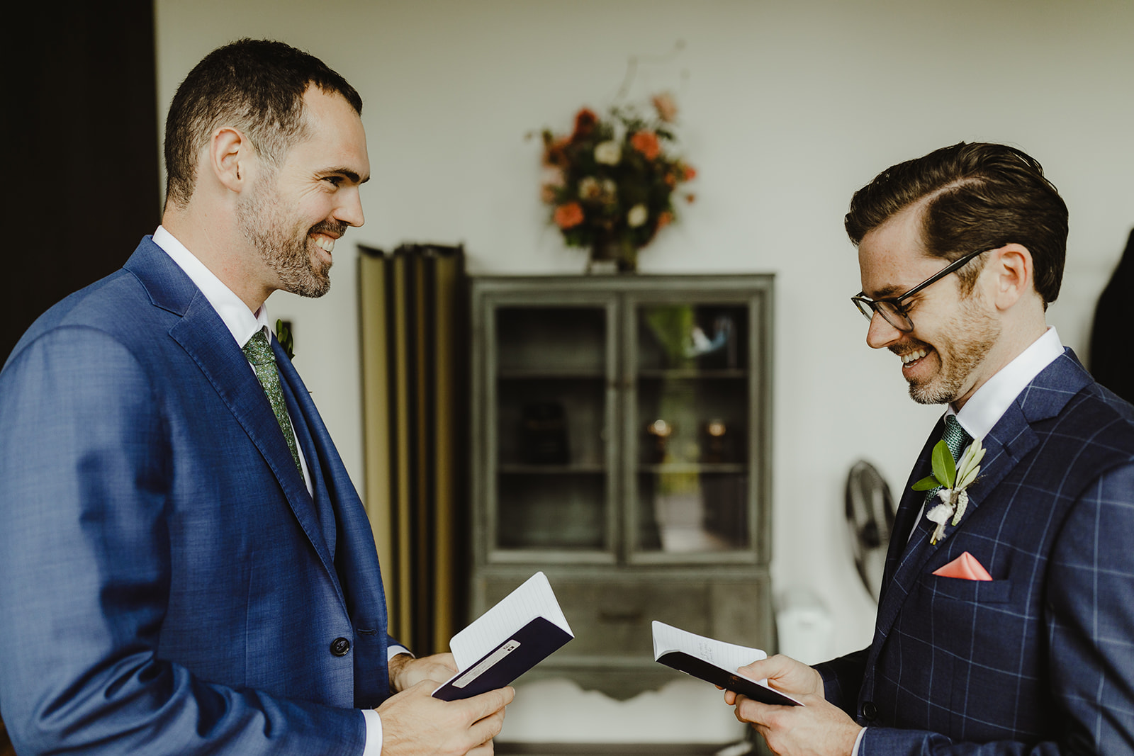 Grooms sharing vows