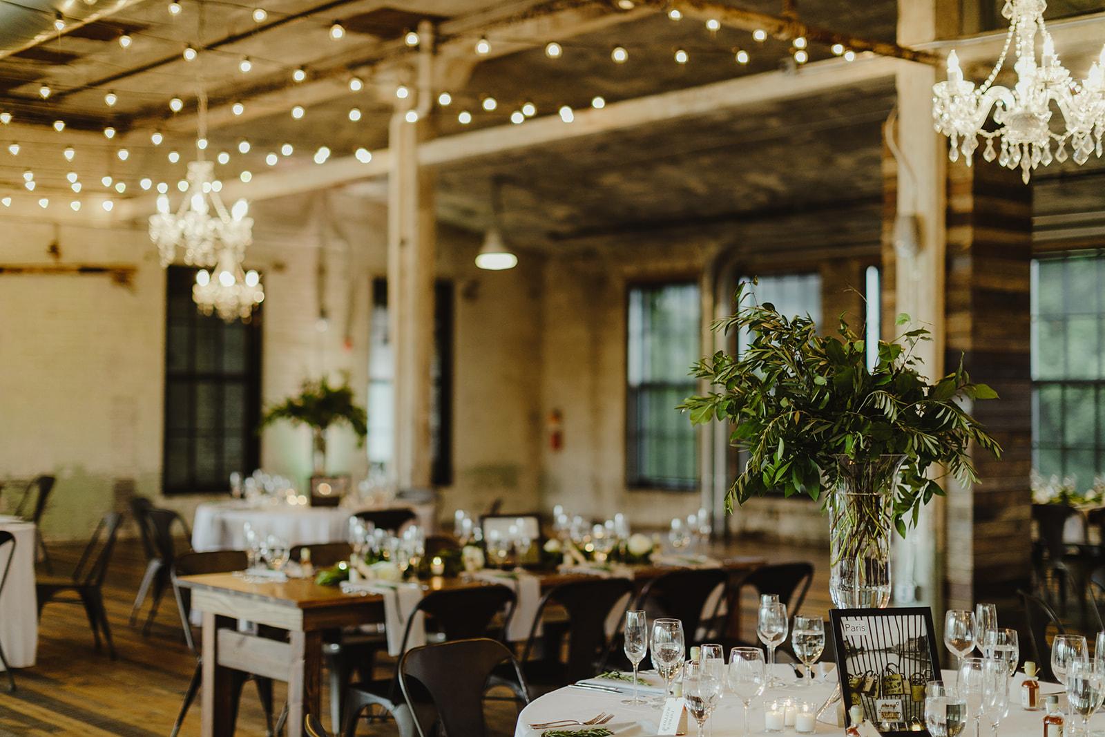 Reception tables for a Journeyman Distillery wedding