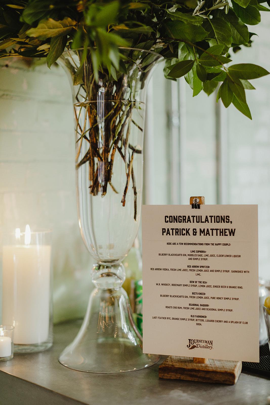 Drink menus for a wedding