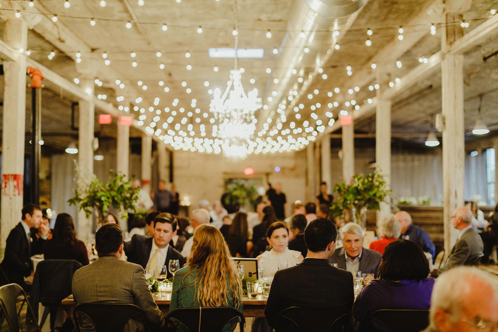 Guests enjoying a Journeyman Distillery wedding