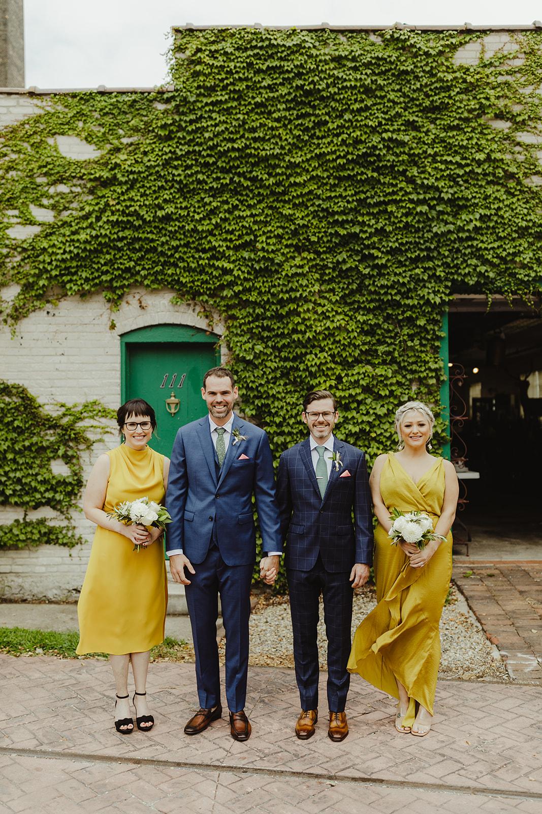 Grooms & bridesmaids smiling
