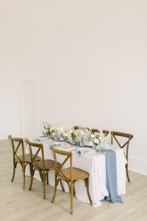 Table decor setup for elopement wedding