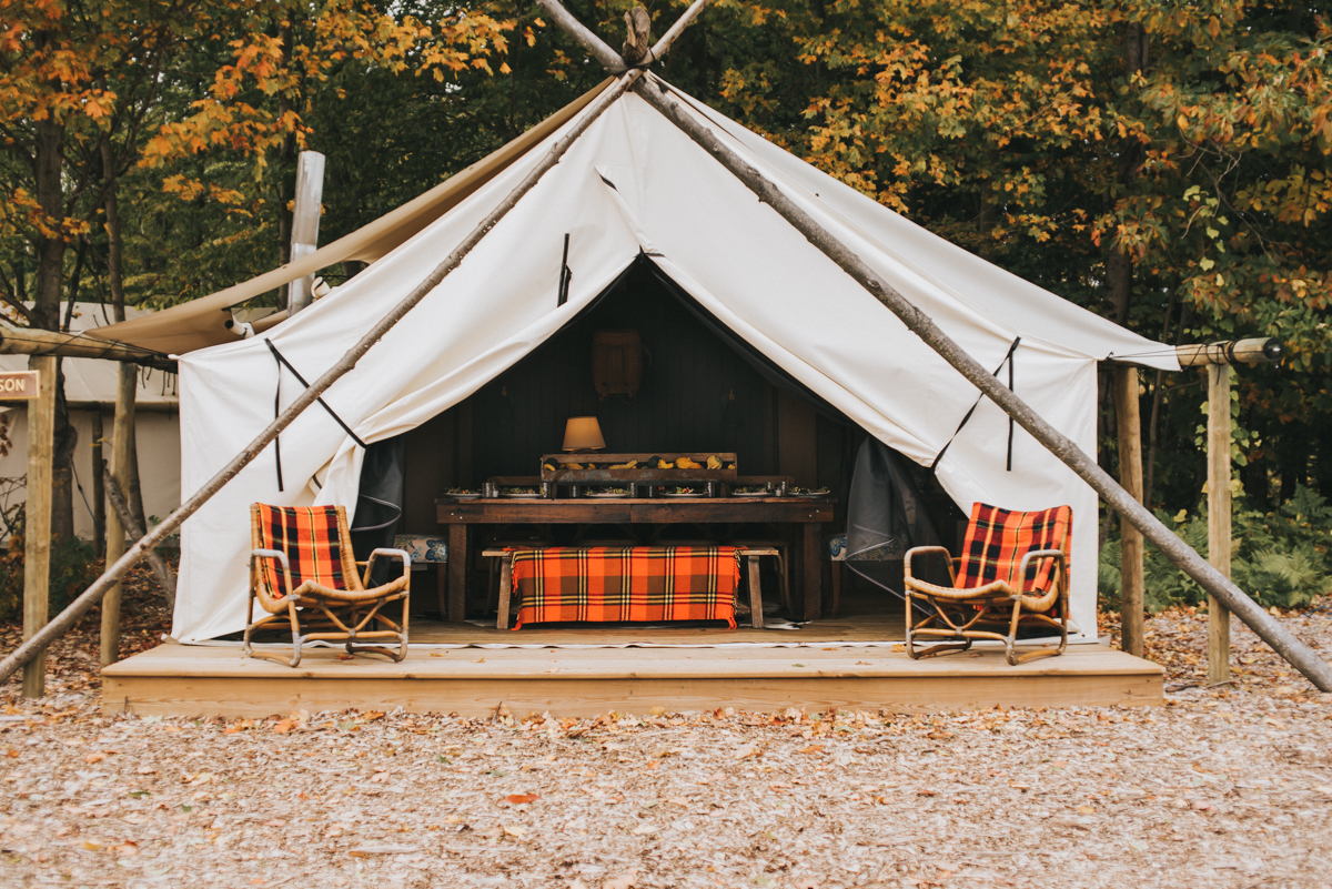Tent set for an elopement at The Fields of Michigan in South Haven, MI