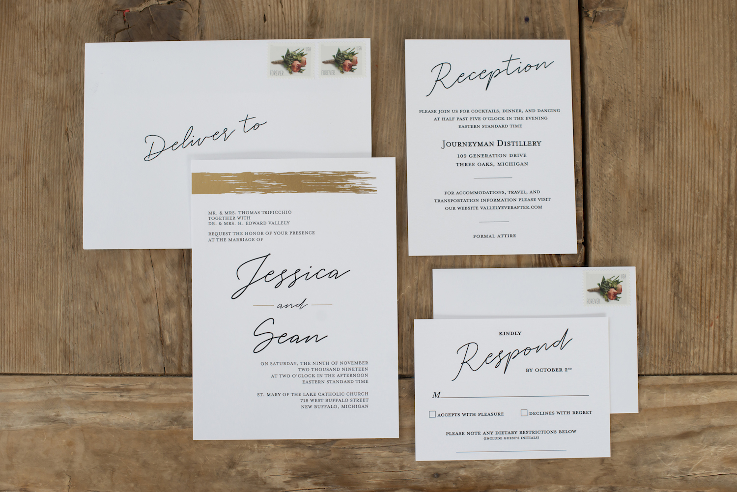 Stationaries for rustic Michigan wedding