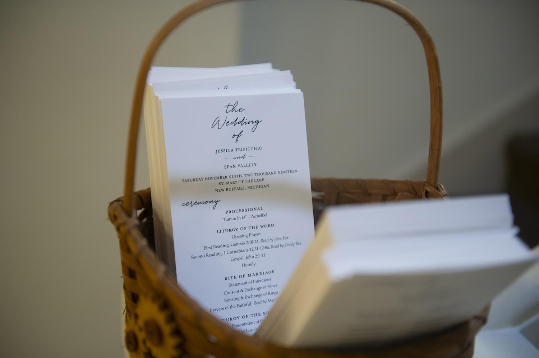 Wedding stationary at rustic Michigan wedding ceremony