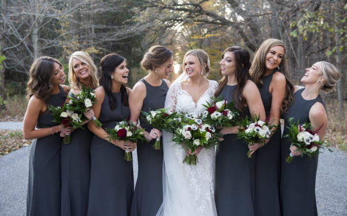 Bridesmaids dressed for a rustic Michigan wedding
