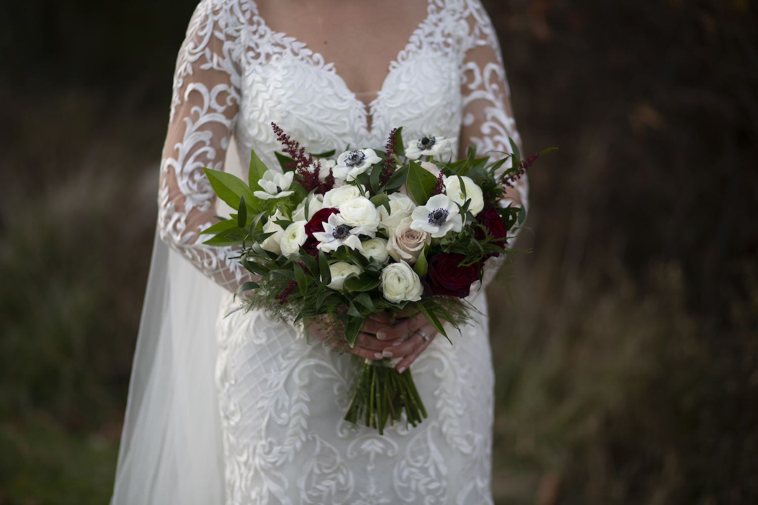 Bride's flower bouquet for rustic Michigan wedding