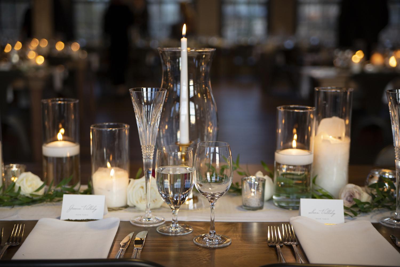 Table decor at rustic Michigan wedding