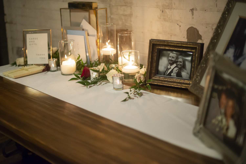 Card table set up at rustic Michigan wedding