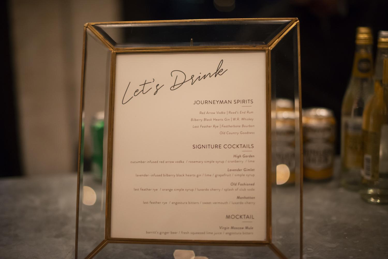 Drink menu on bar
