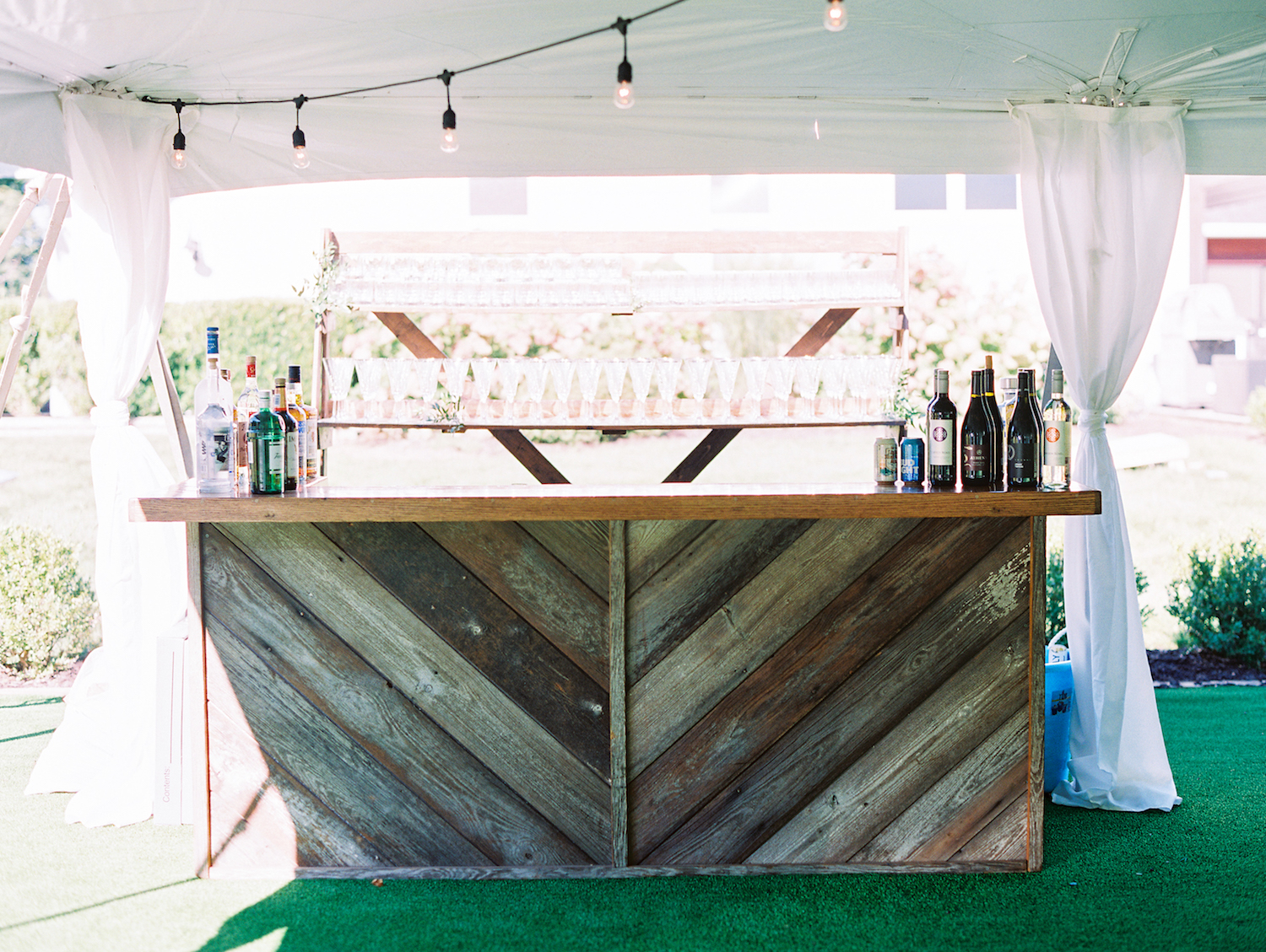 Bar setup for apple blossom resort wedding