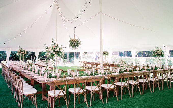 Table layout under tent