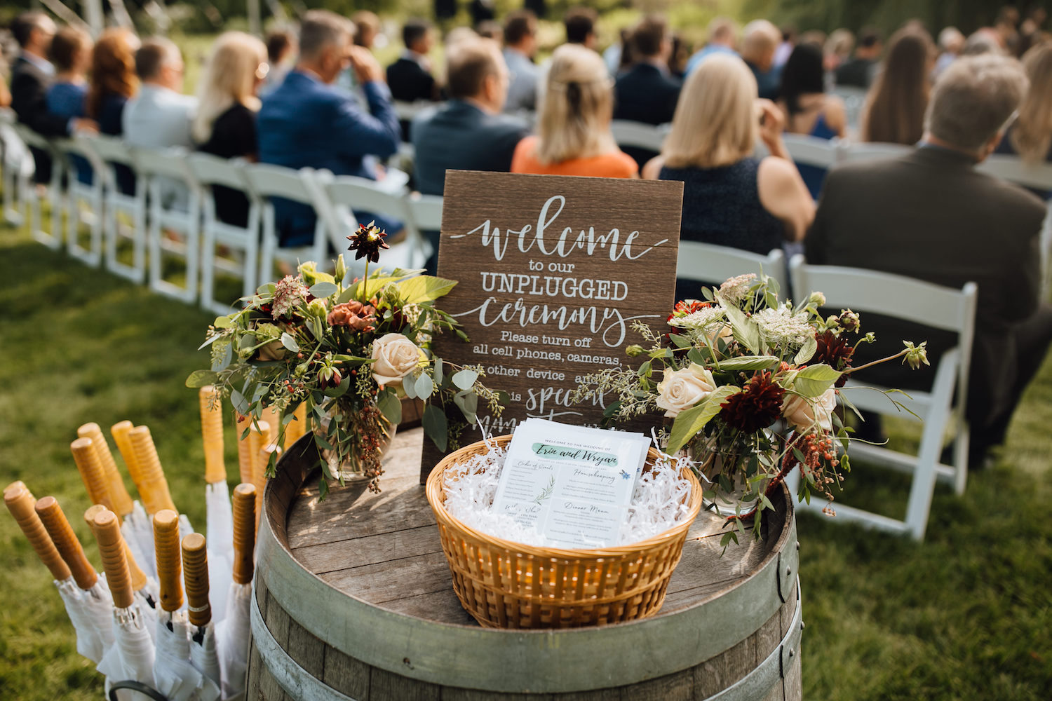 Welcome sign at ceremony of Aurora Cellars wedding