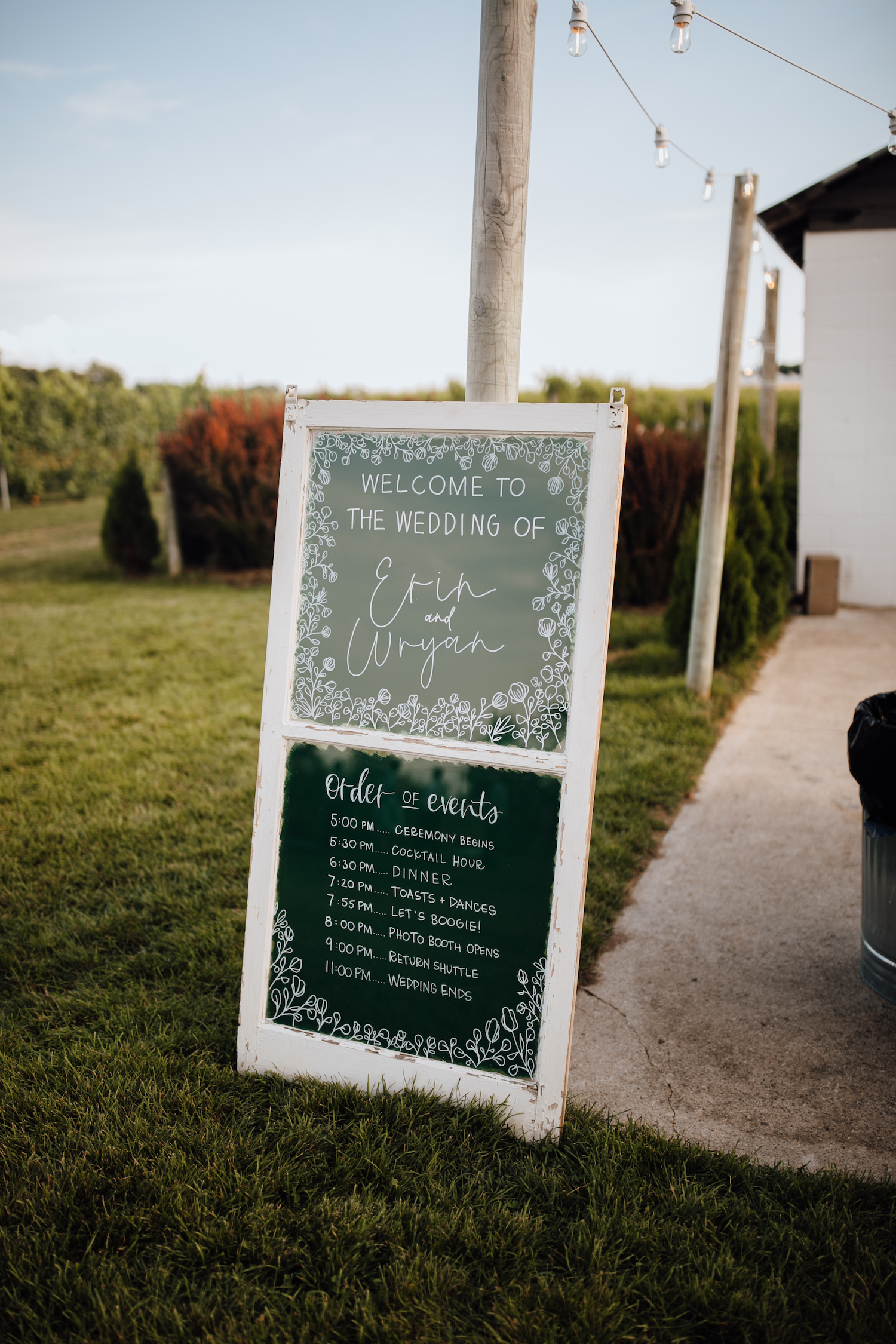 Order of events sign at Aurora Cellars wedding
