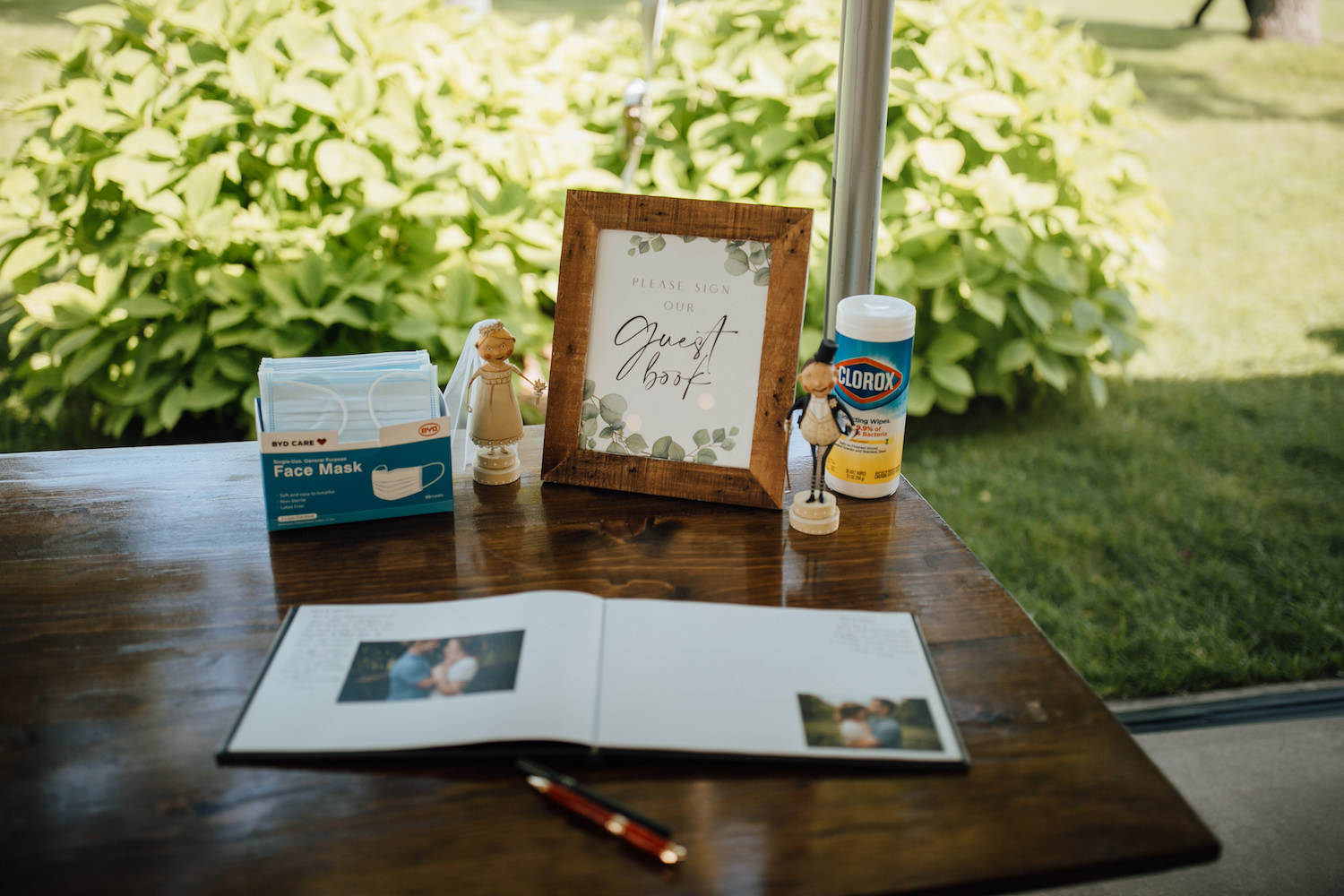 Guest book table at Aurora Cellars wedding