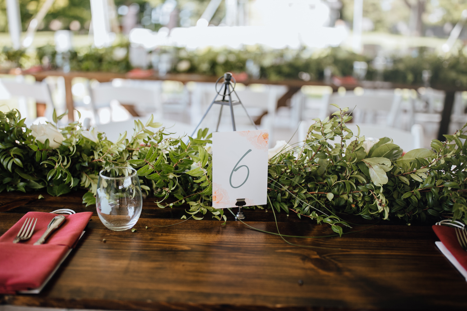 Table number for Aurora Cellars wedding