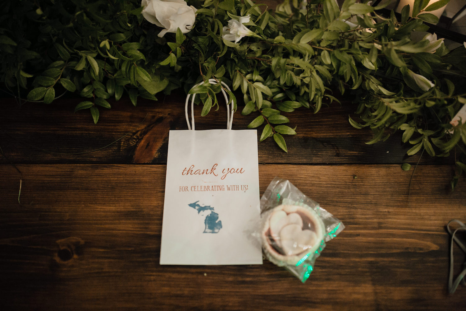 Thank you bags for guest of Aurora cellars wedding