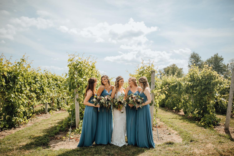 Brides and bridesmaids at Aurora Cellars wedding