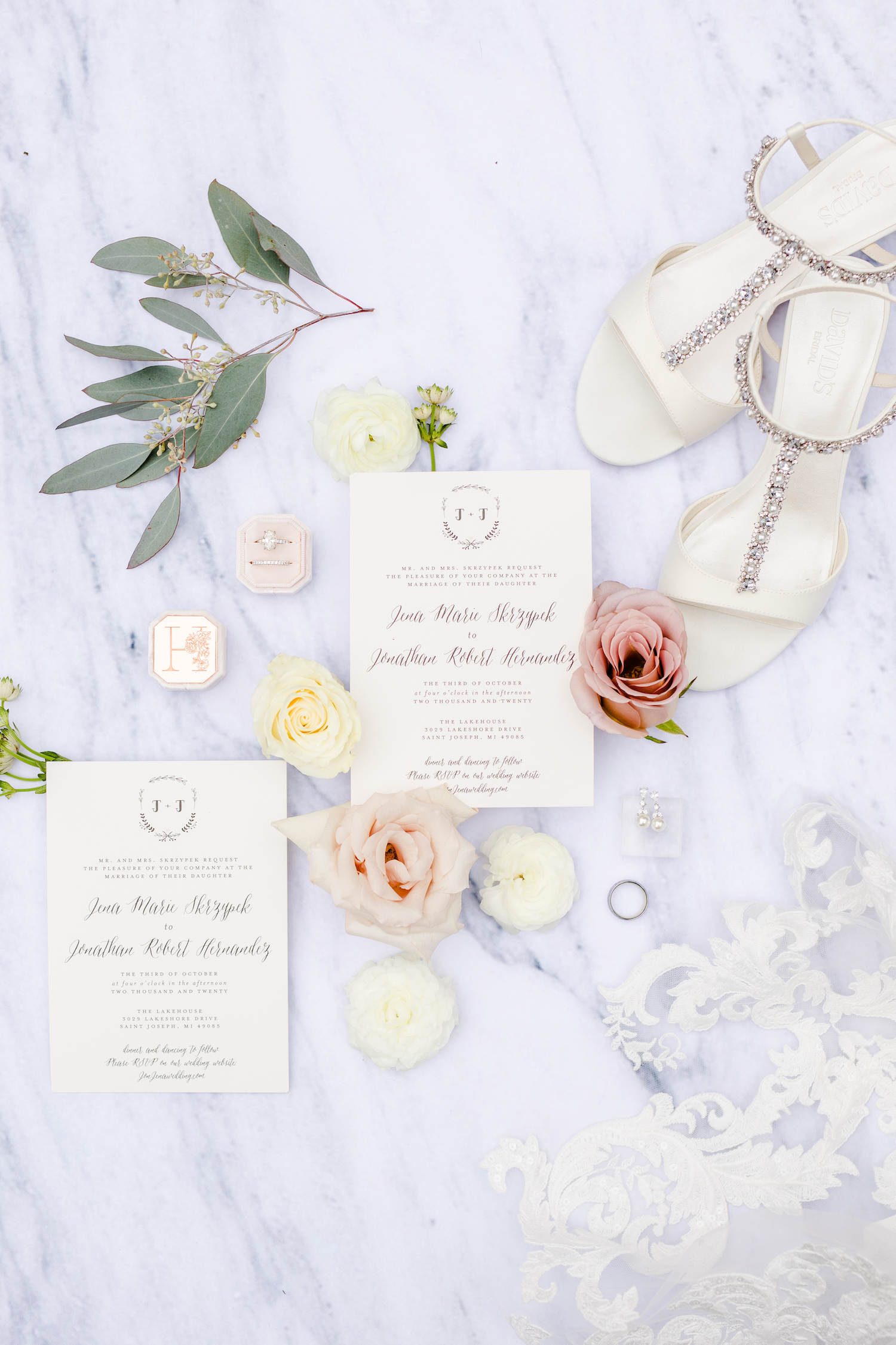 Shoes, rings, and stationary for the Lakehouse wedding