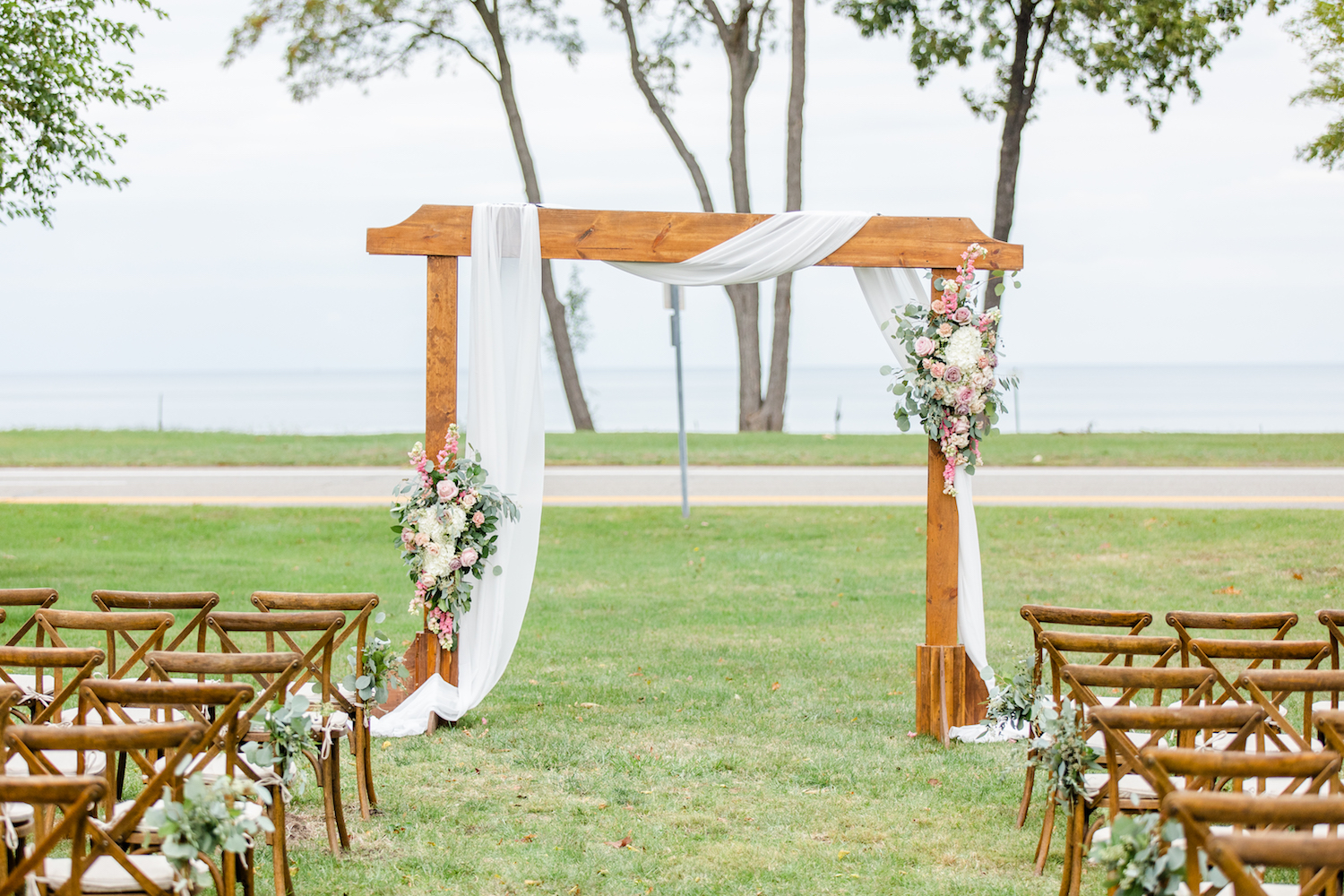 Ceremony arch for the lakehouse wedding