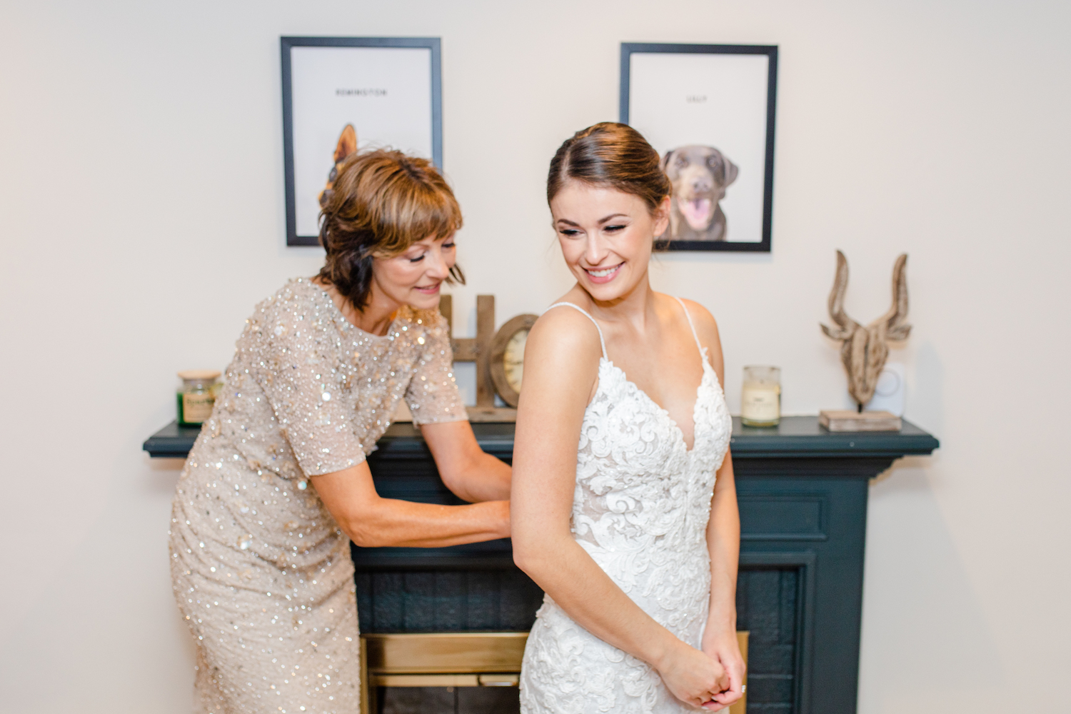 Brides and Mother of bride smiling at the Lakehouse wedding