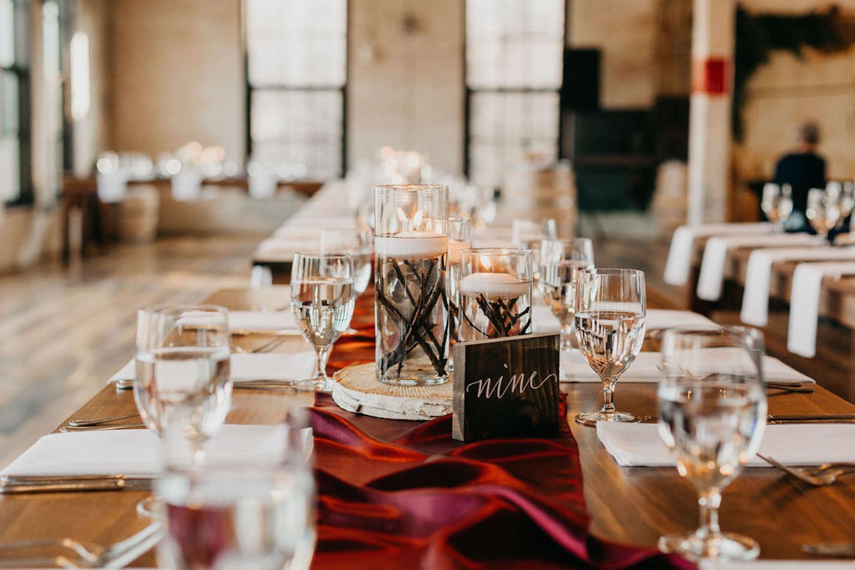 Table decor for Journeyman Distiller wedding