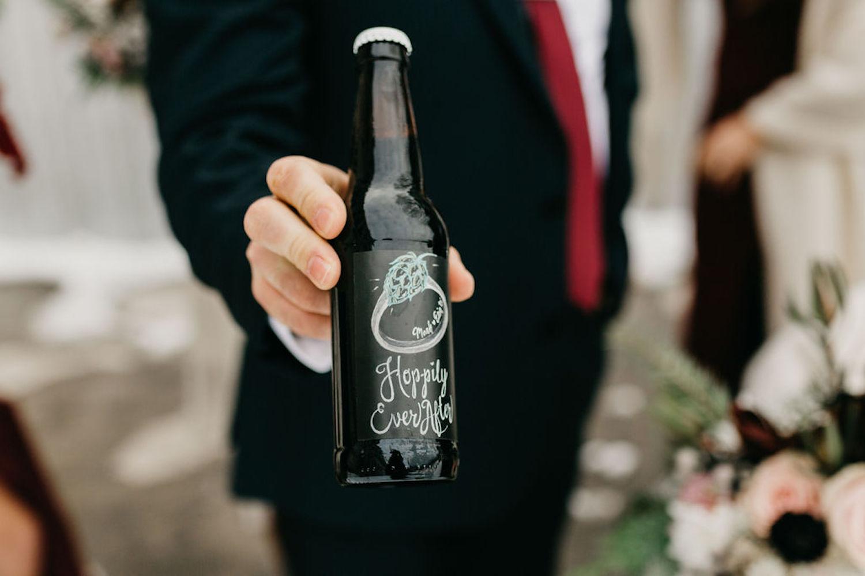 """""""Hoppily Ever After"""" Beer Label for Journeyman Distillery wedding"""