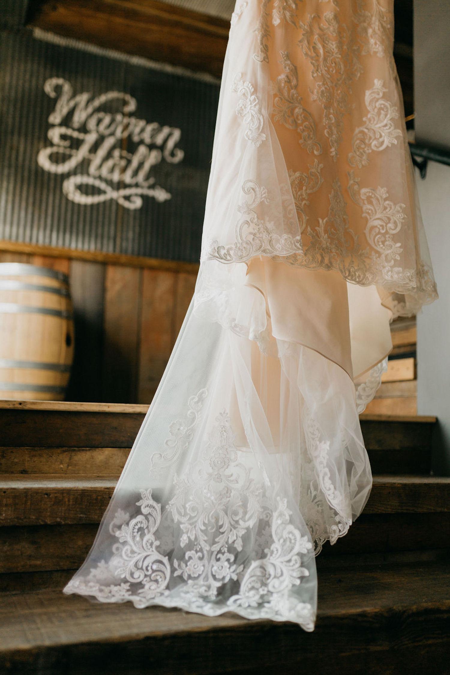 Bottom of Journeyman Distillery wedding gown