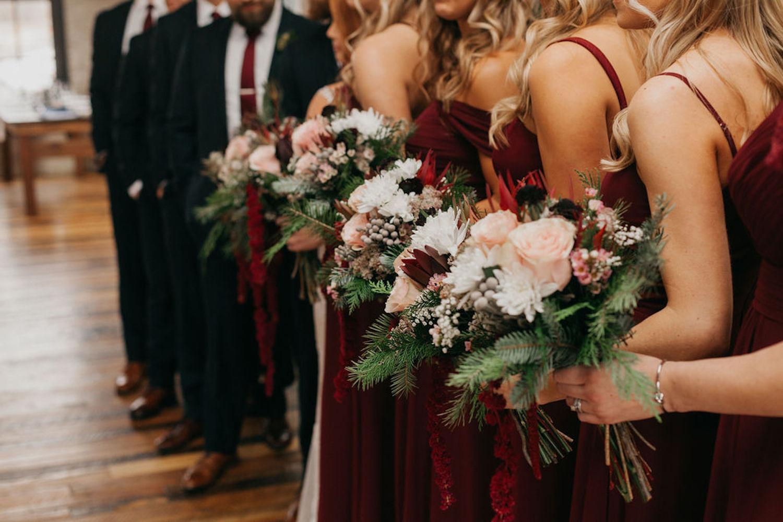 Bridesmaids bouquets for Journeyman Distillery wedding