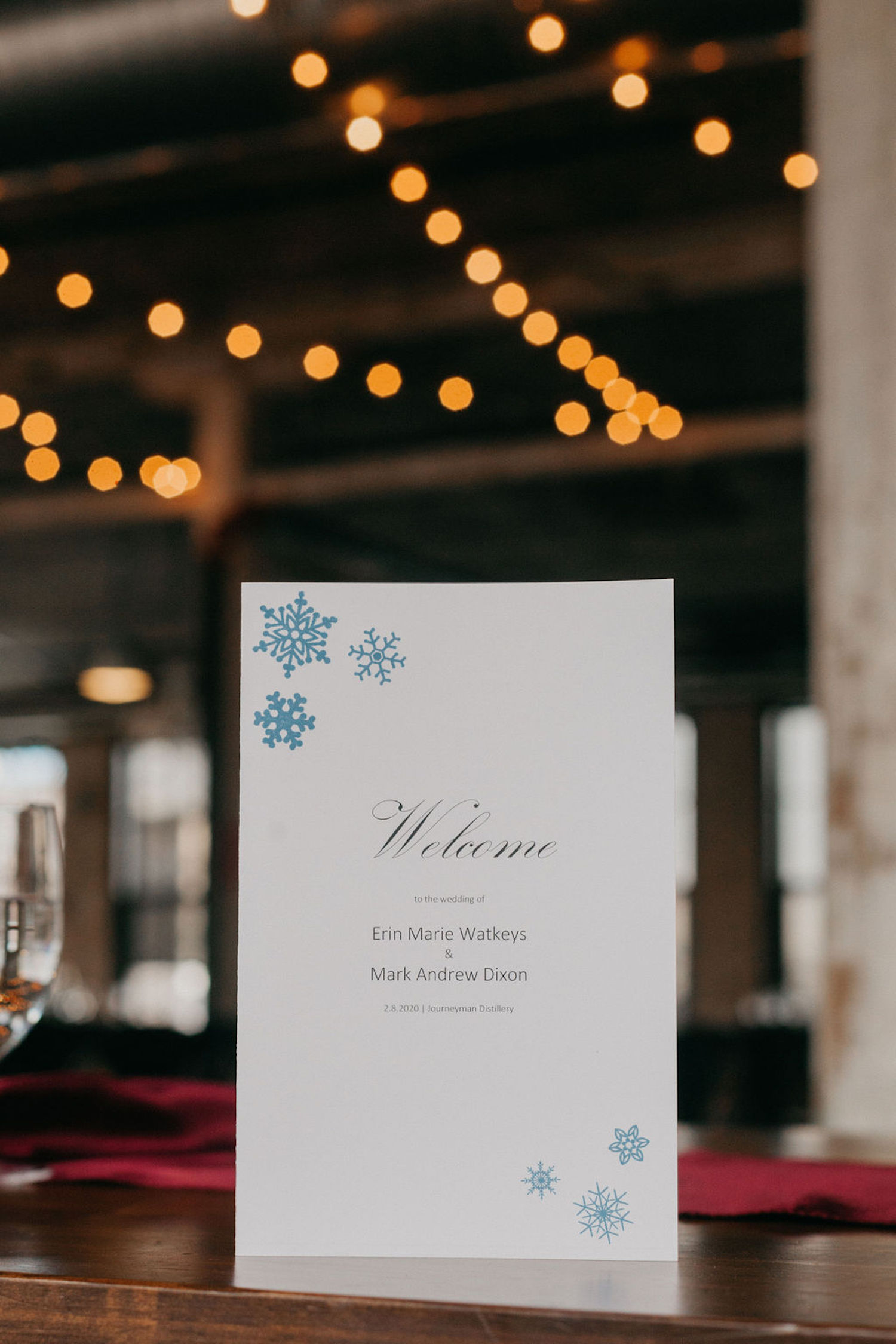 Welcome sign for Journeyman Distillery wedding