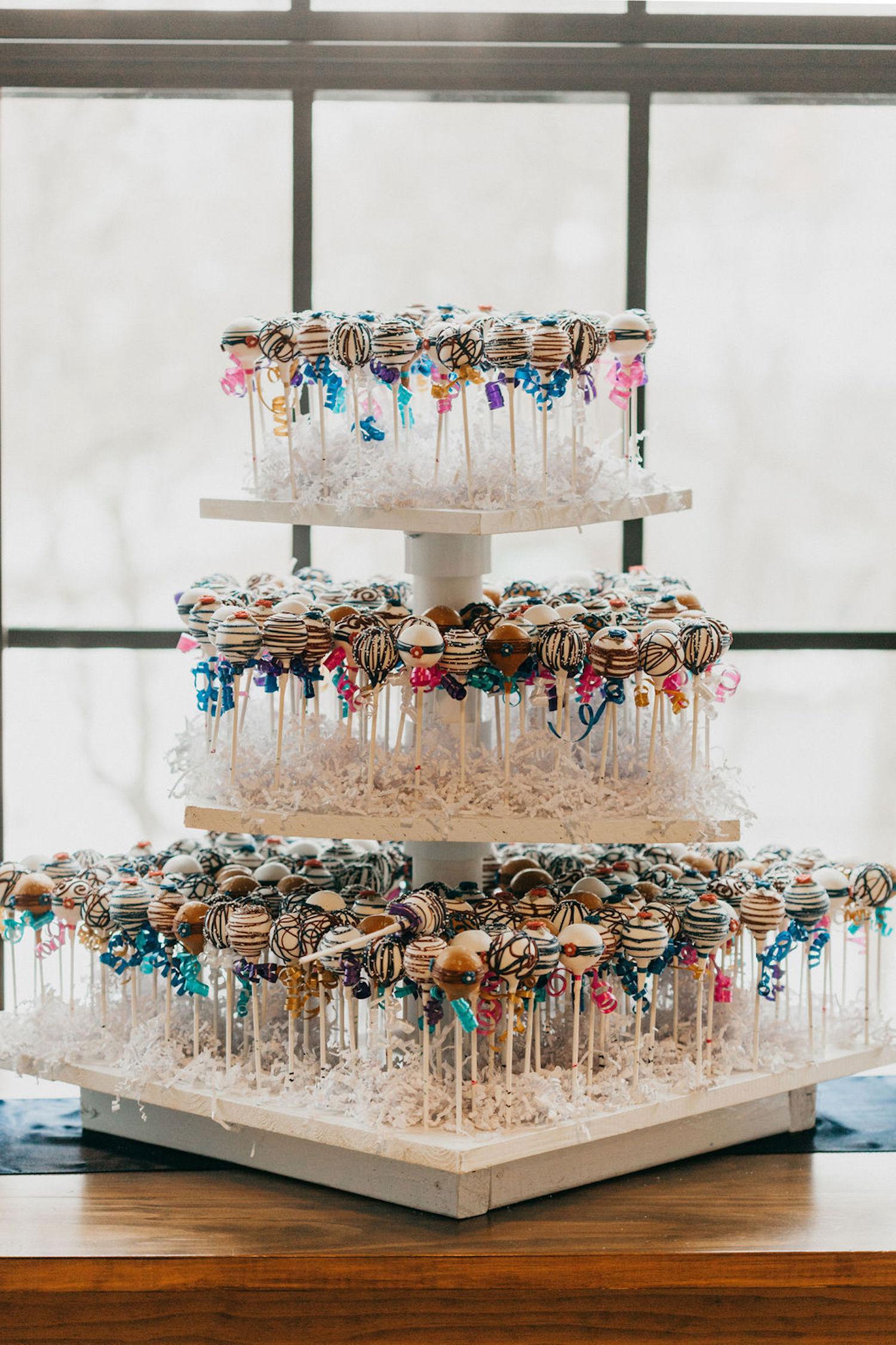 Cake pops tier at Journeyman Distillery wedding