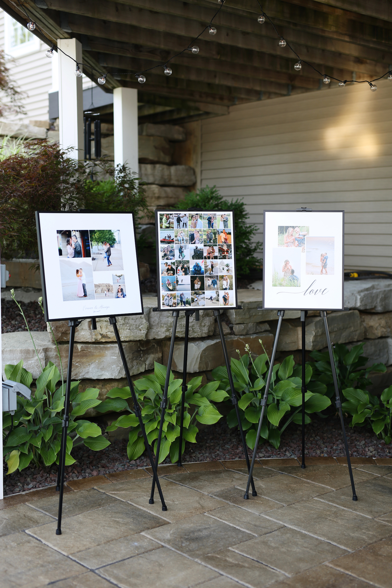 Signage with pictures of couple at kalamazoo michigan wedding