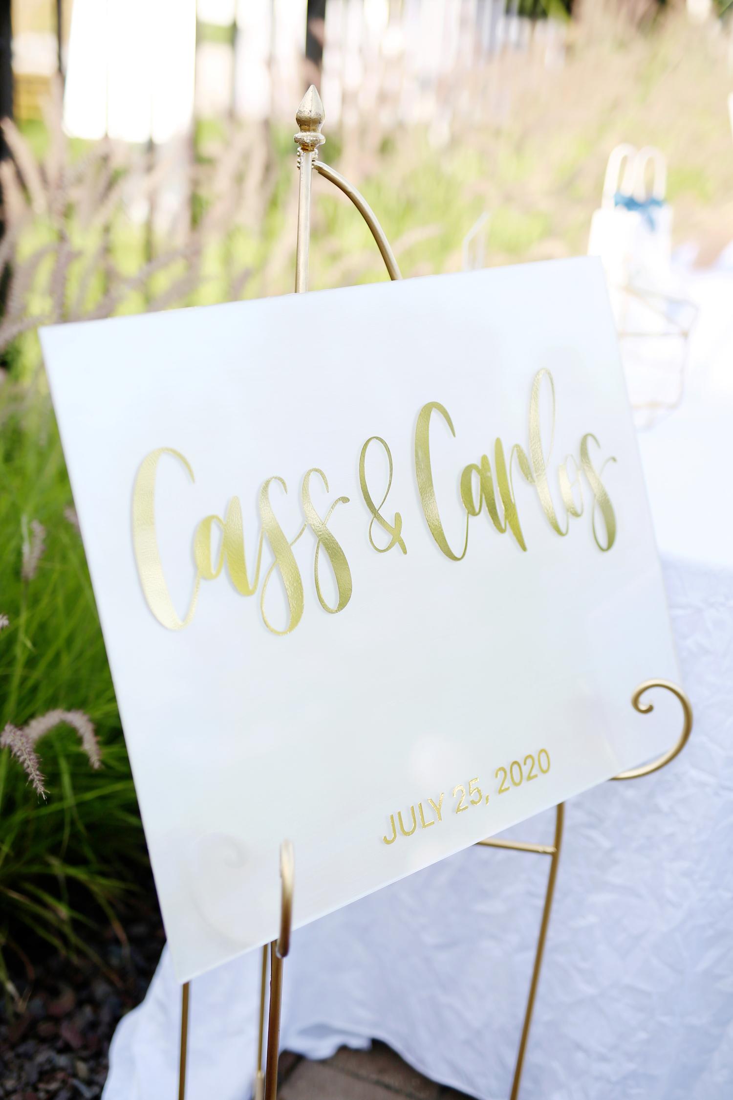 Cass & Carlos sign at kalamazoo michigan wedding