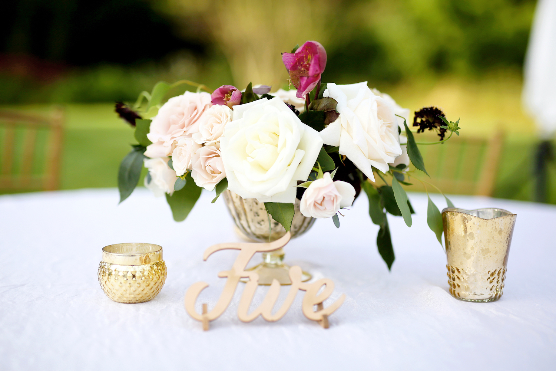 Table decor at Kalamazoo Michigan wedding