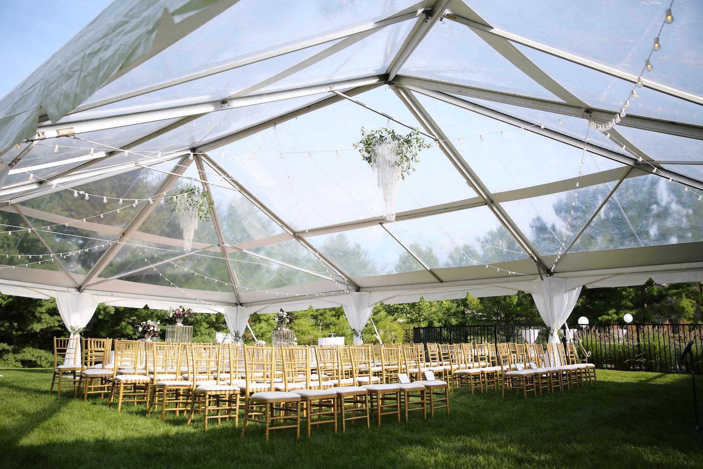 Ceremony under tent at Kalamazoo Michigan wedding