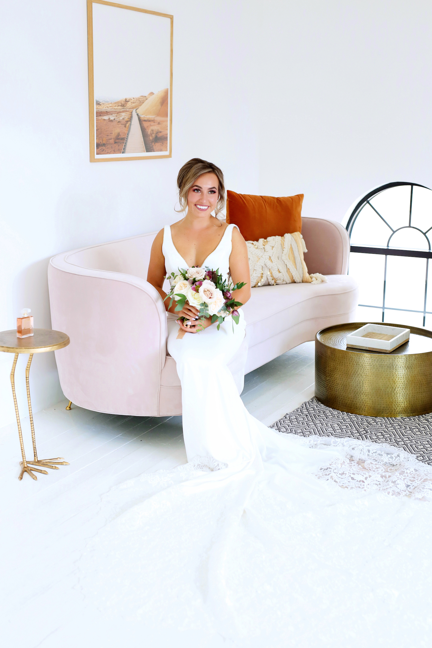 Bride smiling after getting ready