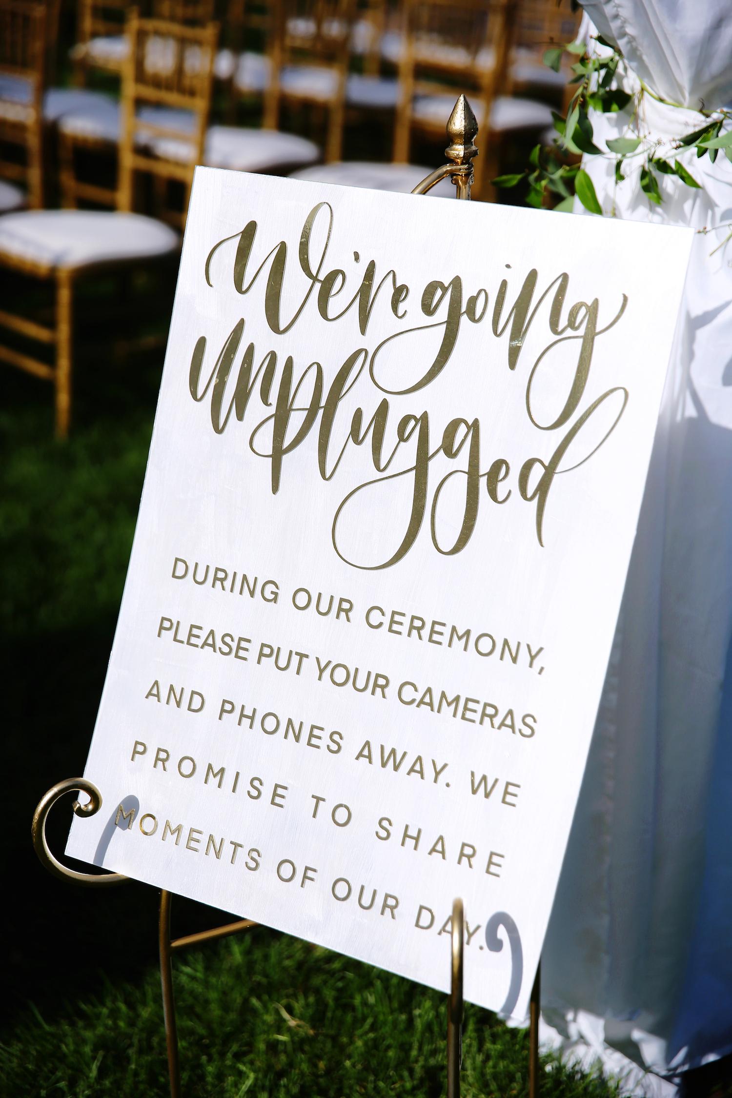 Unplugged wedding sign at kalamazoo Michigan wedding