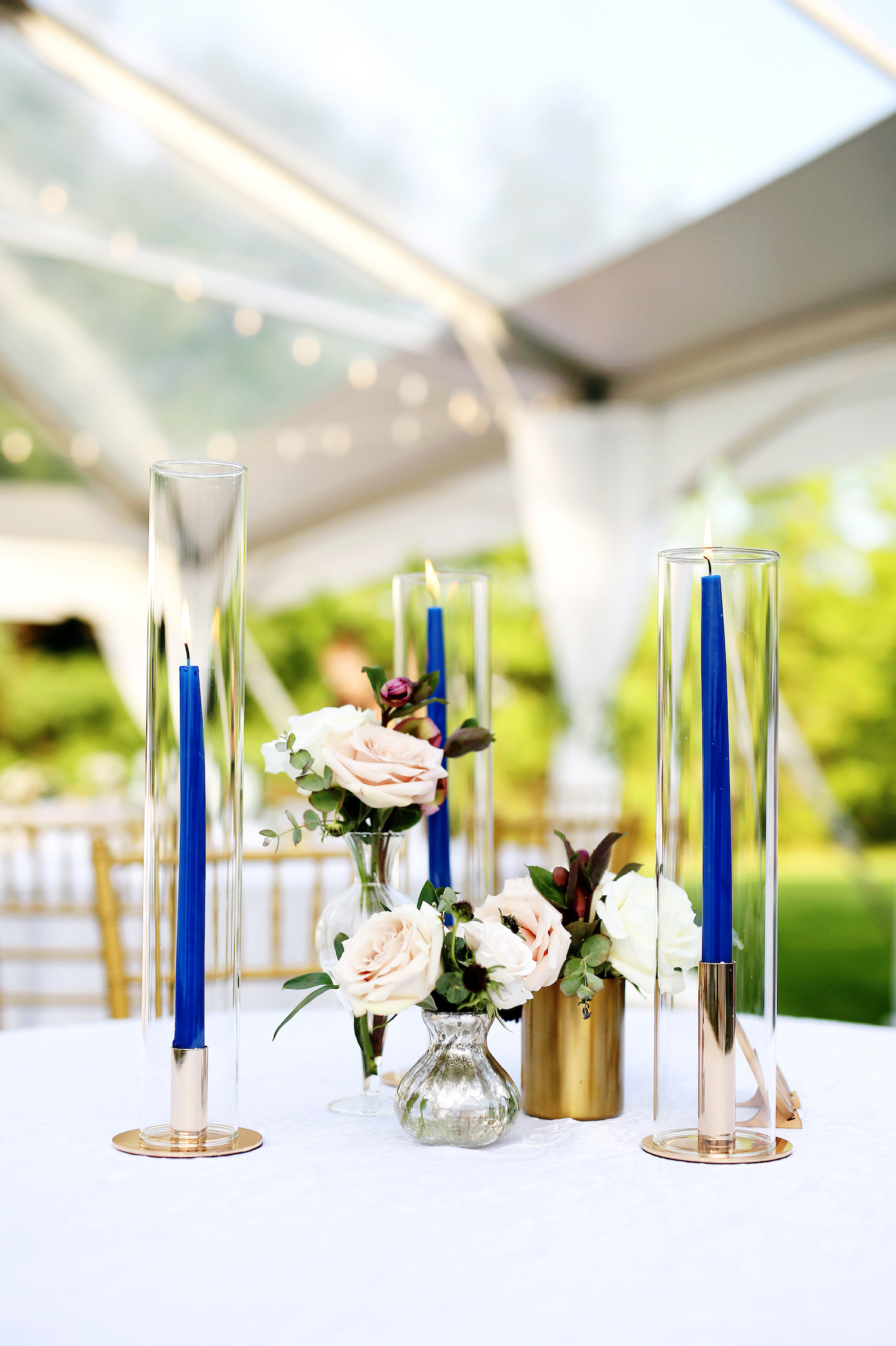 Table setup with candles and flowers