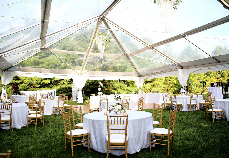 Table setup for reception at Kalamazoo Michigan wedding